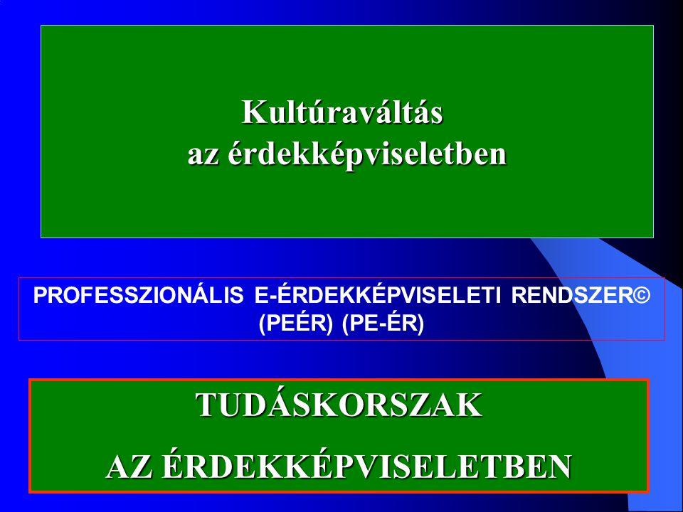 Kultúraváltás az érdekképviseletben PROFESSZIONÁLIS E-ÉRDEKKÉPVISELETI RENDSZER© (PEÉR) (PE-ÉR) TUDÁSKORSZAK AZ ÉRDEKKÉPVISELETBEN