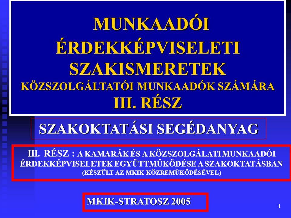 1 MUNKAADÓI MUNKAADÓI ÉRDEKKÉPVISELETI SZAKISMERETEK KÖZSZOLGÁLTATÓI MUNKAADÓK SZÁMÁRA III.