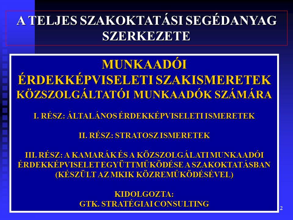 2 MUNKAADÓI ÉRDEKKÉPVISELETI SZAKISMERETEK KÖZSZOLGÁLTATÓI MUNKAADÓK SZÁMÁRA I.