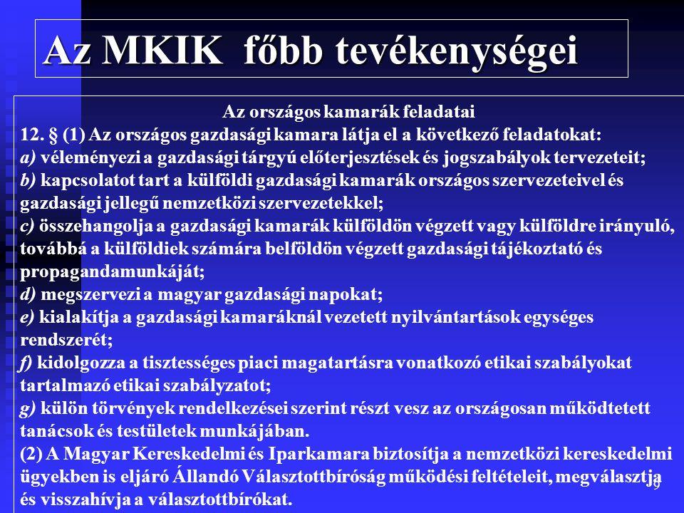 9 Az MKIK főbb tevékenységei Az országos kamarák feladatai 12.