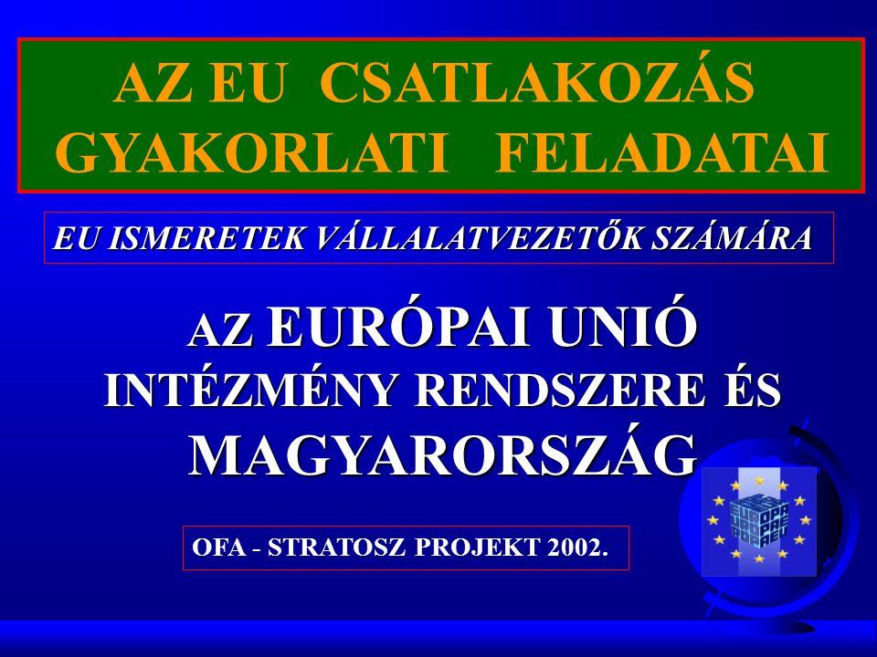 AZ EU CSATLAKOZÁS GYAKORLATI FELADATAI EU ISMERETEK VÁLLALATVEZETŐK SZÁMÁRA AZ EURÓPAI UNIÓ INTÉZMÉNY RENDSZERE ÉS MAGYARORSZÁG OFA - STRATOSZ PROJEKT 2002.