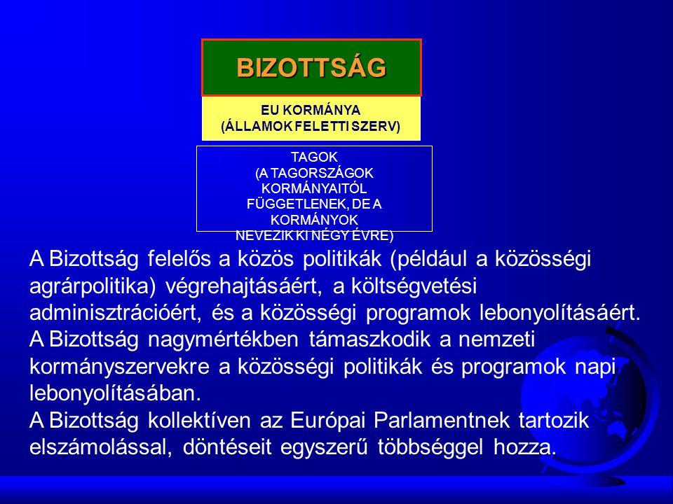EU KORMÁNYA (ÁLLAMOK FELETTI SZERV) BIZOTTSÁG TAGOK (A TAGORSZÁGOK KORMÁNYAITÓL FÜGGETLENEK, DE A KORMÁNYOK NEVEZIK KI NÉGY ÉVRE) A Bizottság felelős a közös politikák (például a közösségi agrárpolitika) végrehajtásáért, a költségvetési adminisztrációért, és a közösségi programok lebonyolításáért.