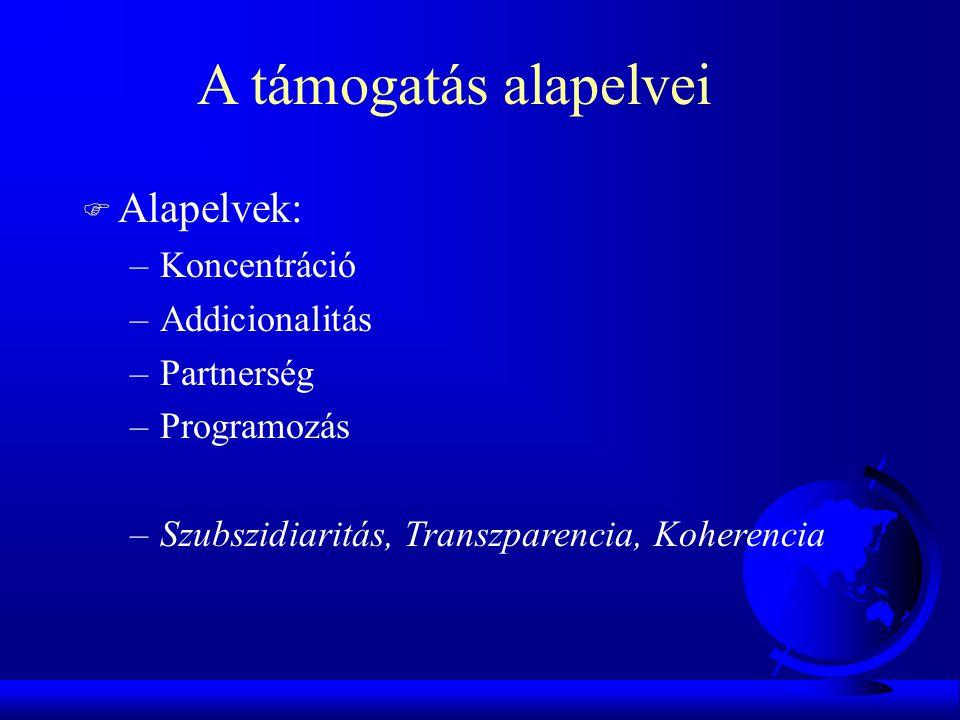 F Alapelvek: –Koncentráció –Addicionalitás –Partnerség –Programozás –Szubszidiaritás, Transzparencia, Koherencia A támogatás alapelvei