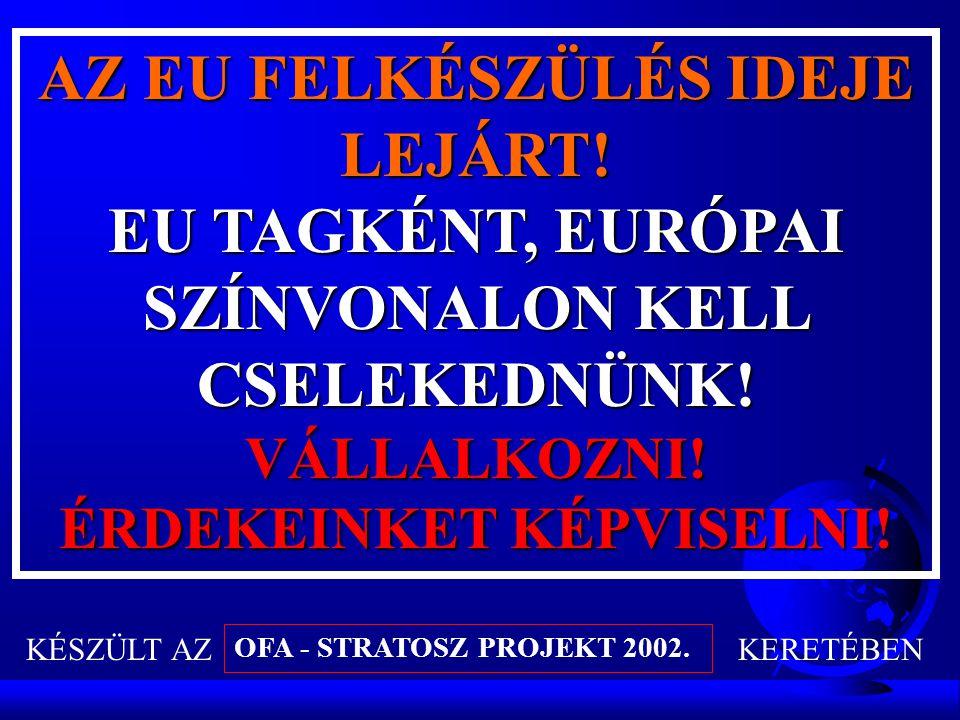 AZ EU FELKÉSZÜLÉS IDEJE LEJÁRT.EU TAGKÉNT, EURÓPAI SZÍNVONALON KELL CSELEKEDNÜNK.