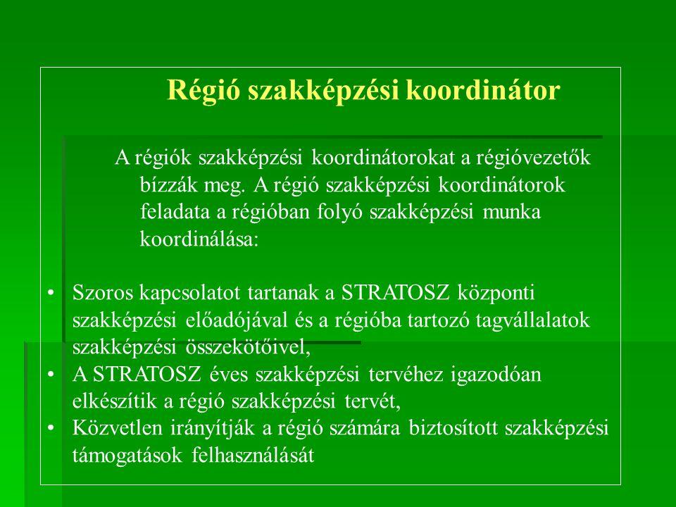 Régió szakképzési koordinátor A régiók szakképzési koordinátorokat a régióvezetők bízzák meg. A régió szakképzési koordinátorok feladata a régióban fo