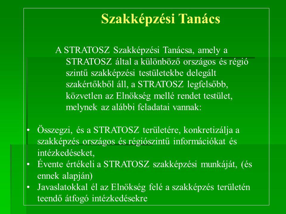 Szakképzési Tanács A STRATOSZ Szakképzési Tanácsa, amely a STRATOSZ által a különböző országos és régió szintű szakképzési testületekbe delegált szaké