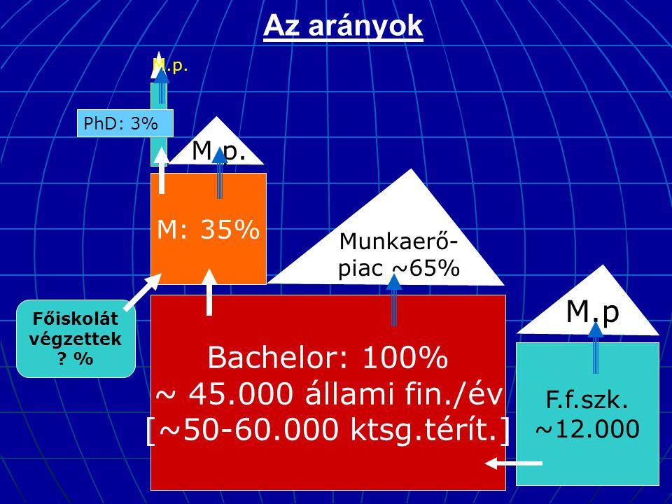 Az arányok Bachelor: 100% ~ 45.000 állami fin./év [~50-60.000 ktsg.térít.] M: 35% Munkaerő- piac ~65% M.p. PhD: 3% F.f.szk. ~12.000 M.p M.p. Főiskolát