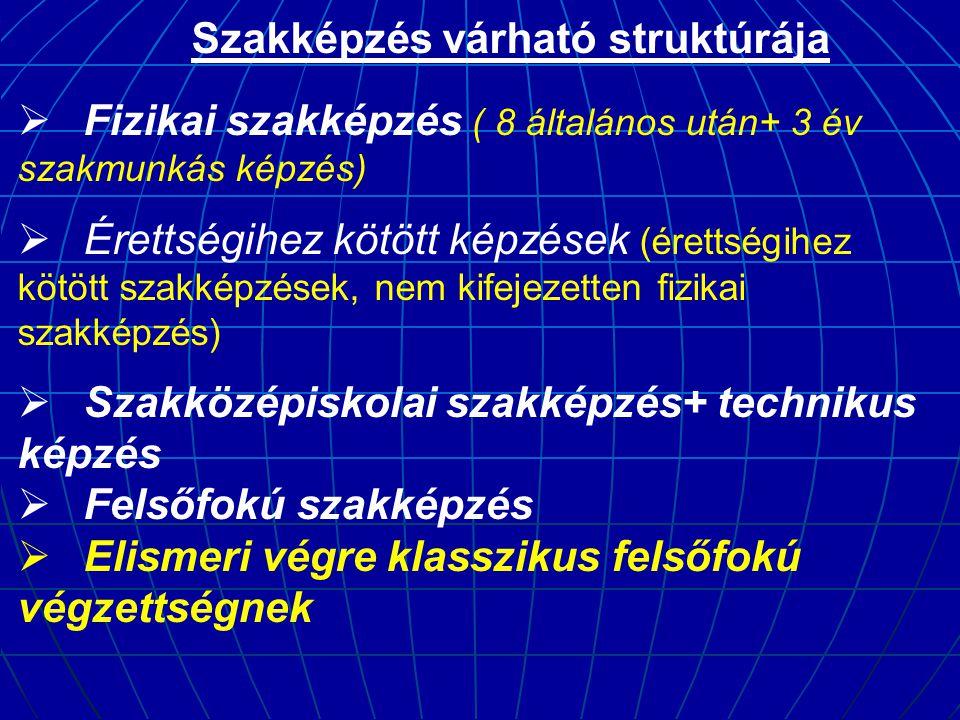 Szakképzés várható struktúrája  Fizikai szakképzés ( 8 általános után+ 3 év szakmunkás képzés)  Érettségihez kötött képzések (érettségihez kötött sz
