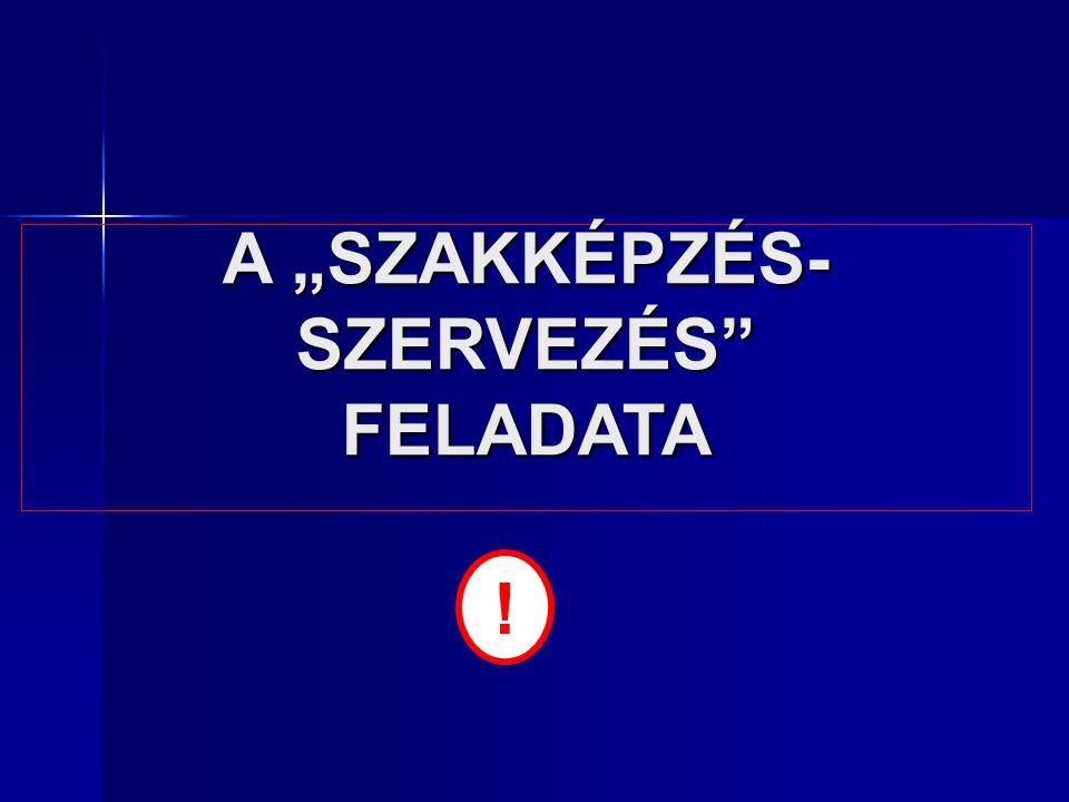 """A """"SZAKKÉPZÉS- SZERVEZÉS FELADATA !"""