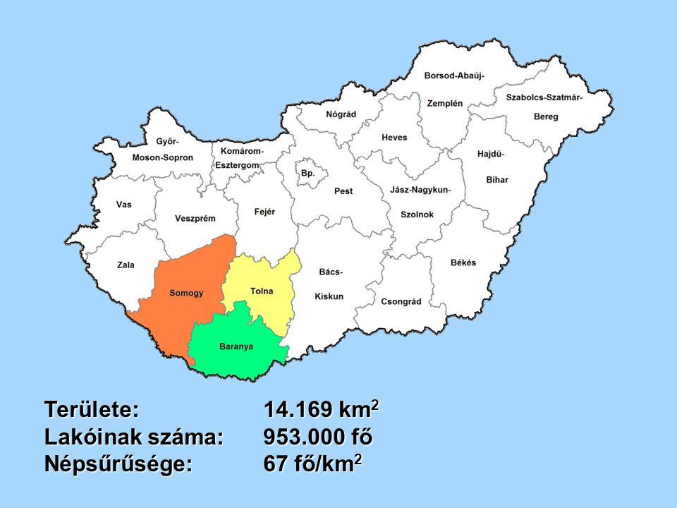 Megyeszékhelyek és lakosainak száma: Pécs 157.700 fő Kaposvár67.800 fő Szekszárd33.700 fő Lakónépesség41,4 % Baranya megyében 33,8 % Somogy megyében 33,8 % Somogy megyében 24,8 % Tolna megyében él.
