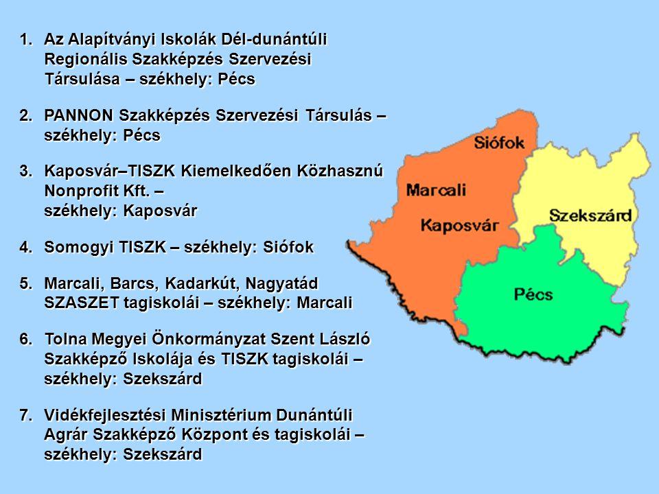 1.Az Alapítványi Iskolák Dél-dunántúli Regionális Szakképzés Szervezési Társulása – székhely: Pécs 2.PANNON Szakképzés Szervezési Társulás – székhely: Pécs 3.Kaposvár–TISZK Kiemelkedően Közhasznú Nonprofit Kft.
