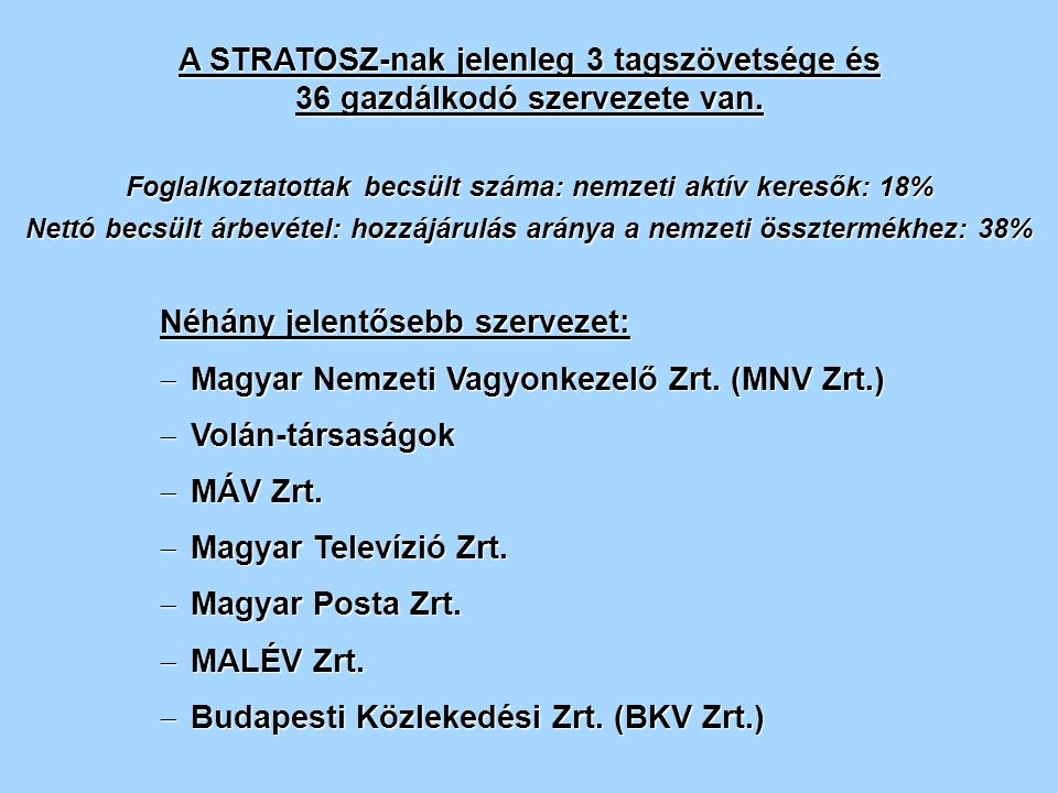 A STRATOSZ-nak jelenleg 3 tagszövetsége és 36 gazdálkodó szervezete van.