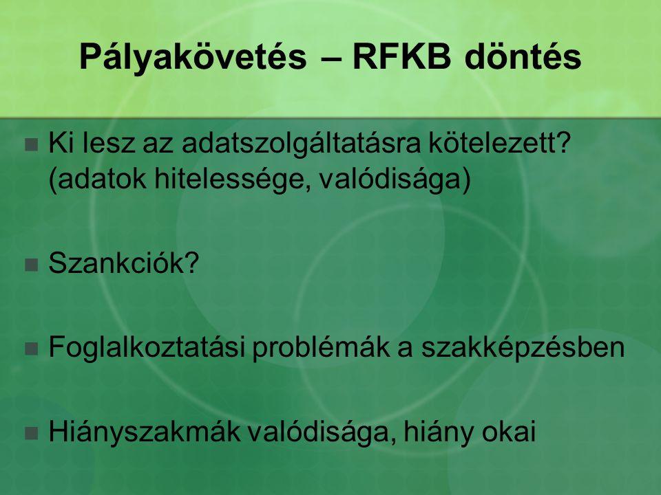 Pályakövetés – RFKB döntés Ki lesz az adatszolgáltatásra kötelezett.