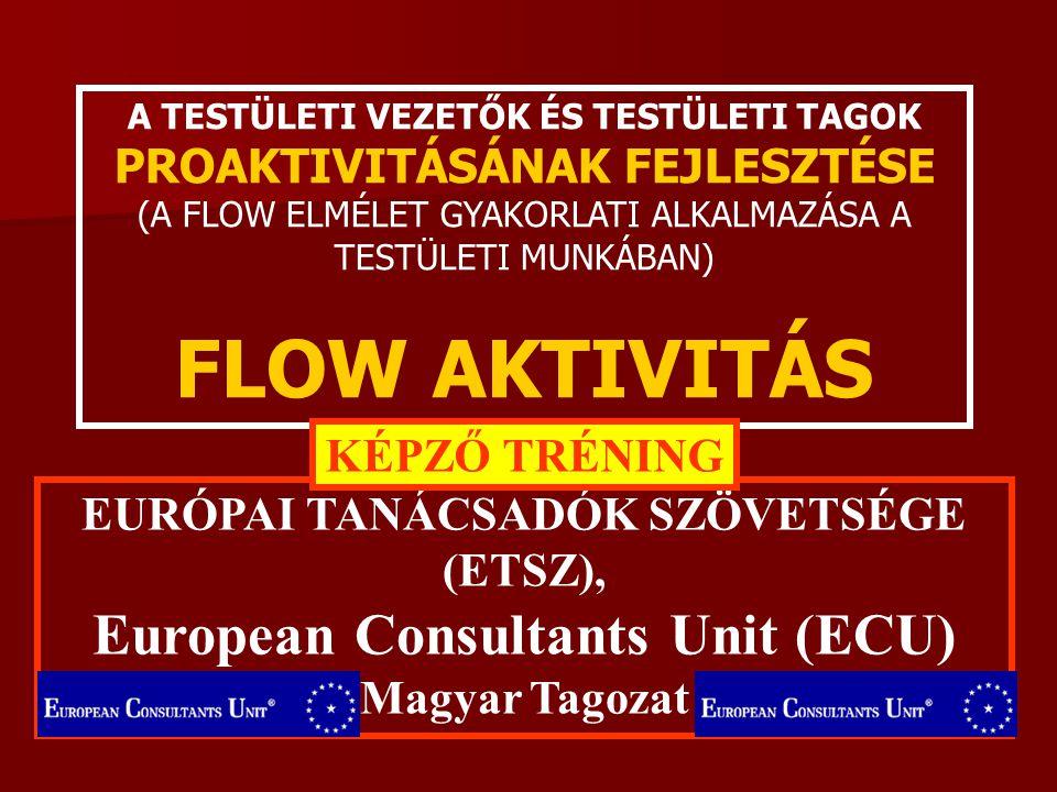 A TESTÜLETI VEZETŐK ÉS TESTÜLETI TAGOK PROAKTIVITÁSÁNAK FEJLESZTÉSE (A FLOW ELMÉLET GYAKORLATI ALKALMAZÁSA A TESTÜLETI MUNKÁBAN) FLOW AKTIVITÁS EURÓPAI TANÁCSADÓK SZÖVETSÉGE (ETSZ), European Consultants Unit (ECU) Magyar Tagozat KÉPZŐ TRÉNING 2.