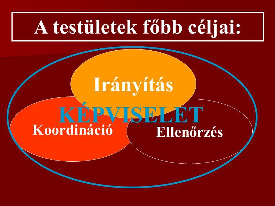 A testületi munka legfőbb elemei (mozzanatai) Véleménykialakítás Véleménynyilvánítás Állásfoglalás kialakítás Konzultáció Meghallgatás Vita Konferencia Kommunikáció 1.Honlap 2.Kiadvány 3.Értesítő 1.Videó