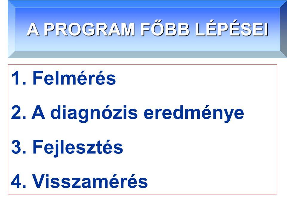 A PROGRAM FŐBB LÉPÉSEI 1. Felmérés 2. A diagnózis eredménye 3. Fejlesztés 4. Visszamérés