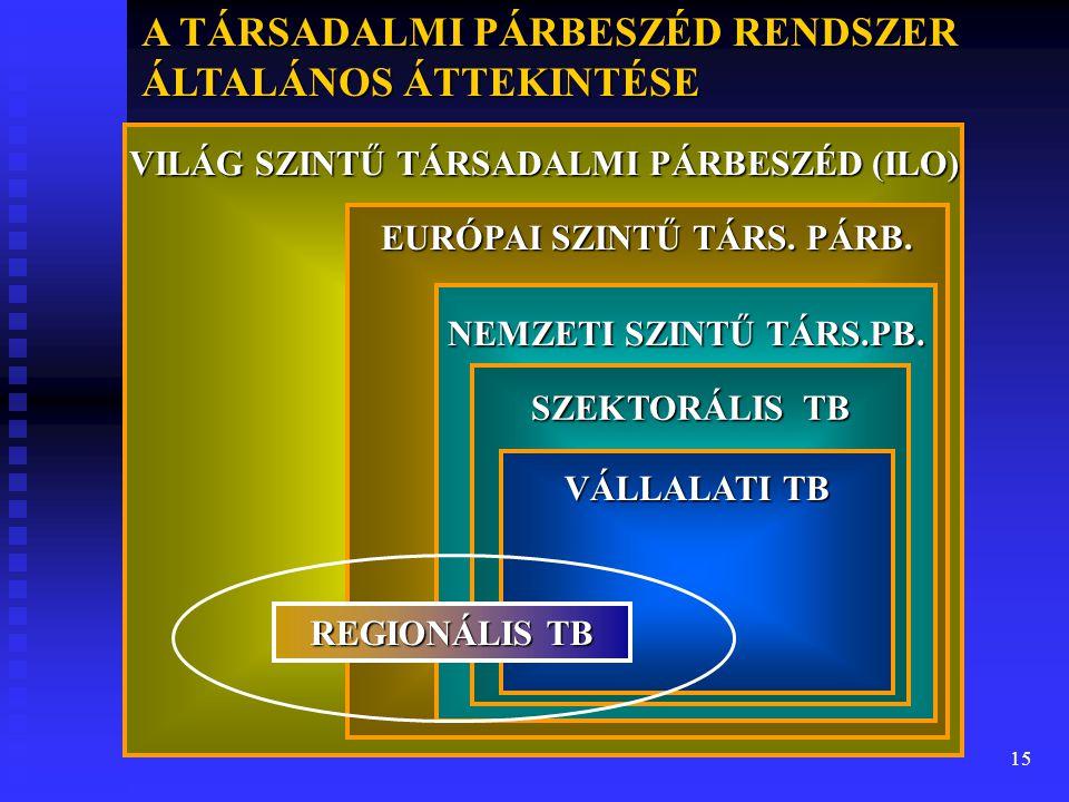 15 VILÁG SZINTŰ TÁRSADALMI PÁRBESZÉD (ILO) EURÓPAI SZINTŰ TÁRS. PÁRB. NEMZETI SZINTŰ TÁRS.PB. SZEKTORÁLIS TB VÁLLALATI TB REGIONÁLIS TB A TÁRSADALMI P
