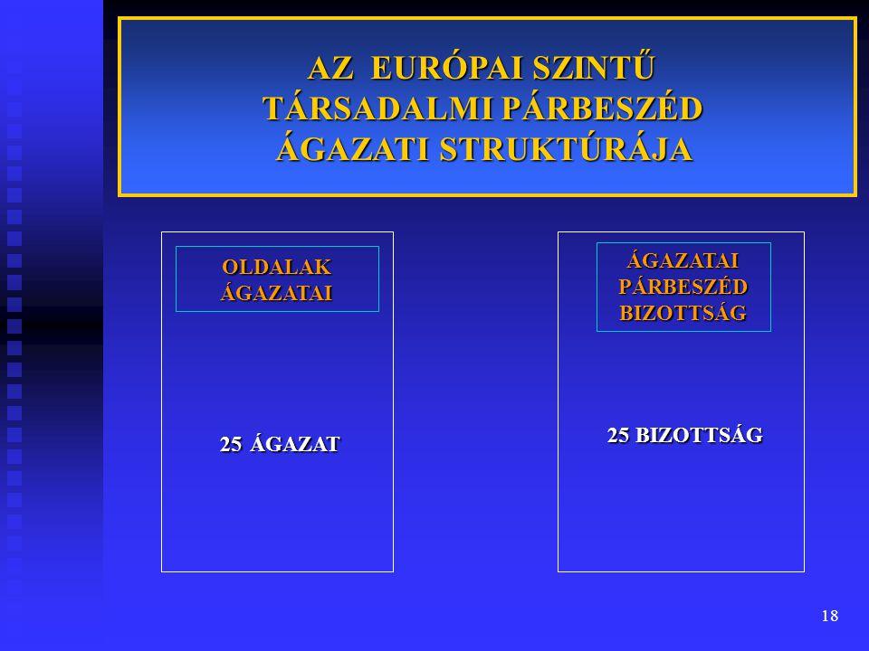18 AZ EURÓPAI SZINTŰ TÁRSADALMI PÁRBESZÉD ÁGAZATI STRUKTÚRÁJA OLDALAK ÁGAZATAI 25ÁGAZAT 25 ÁGAZAT ÁGAZATAI PÁRBESZÉD BIZOTTSÁG 25BIZOTTSÁG 25 BIZOTTSÁ