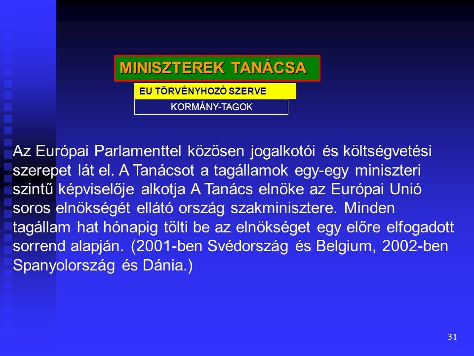 31 MINISZTEREK TANÁCSA EU TÖRVÉNYHOZÓ SZERVE KORMÁNY-TAGOK Az Európai Parlamenttel közösen jogalkotói és költségvetési szerepet lát el. A Tanácsot a t