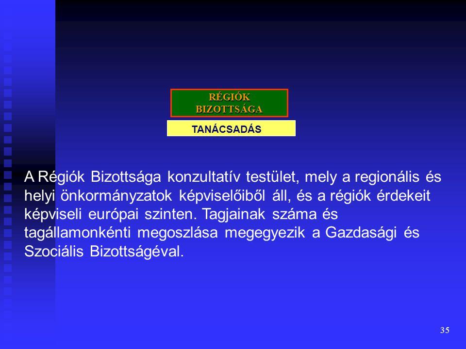 35 TANÁCSADÁS RÉGIÓK BIZOTTSÁGA A Régiók Bizottsága konzultatív testület, mely a regionális és helyi önkormányzatok képviselőiből áll, és a régiók érd
