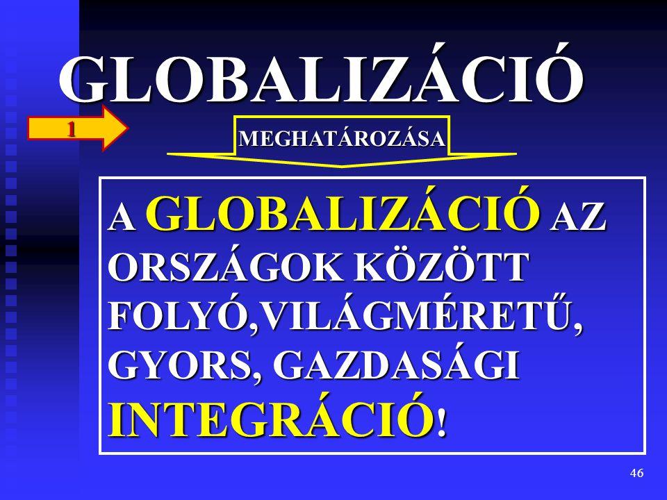 46 GLOBALIZÁCIÓ A GLOBALIZÁCIÓ AZ ORSZÁGOK KÖZÖTT FOLYÓ,VILÁGMÉRETŰ, GYORS, GAZDASÁGI INTEGRÁCIÓ ! MEGHATÁROZÁSA 1