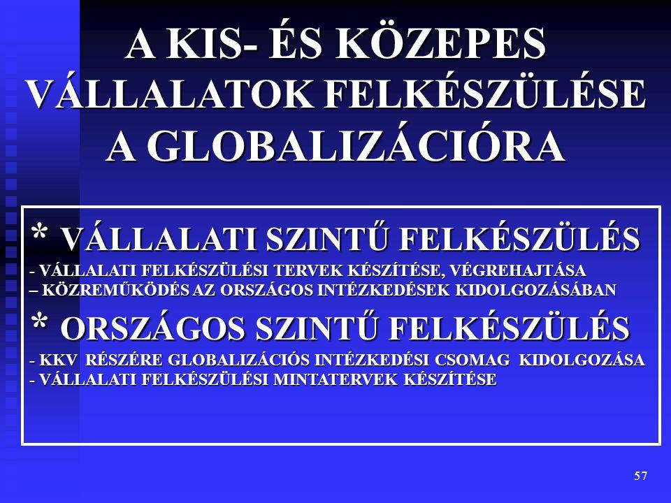 57 A KIS- ÉS KÖZEPES VÁLLALATOK FELKÉSZÜLÉSE A GLOBALIZÁCIÓRA * VÁLLALATI SZINTŰ FELKÉSZÜLÉS - VÁLLALATI FELKÉSZÜLÉSI TERVEK KÉSZÍTÉSE, VÉGREHAJTÁSA –