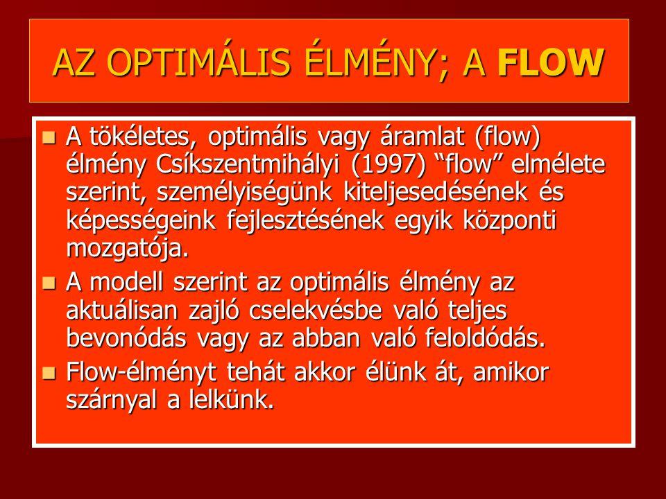 AZ OPTIMÁLIS ÉLMÉNY; A FLOW A tökéletes, optimális vagy áramlat (flow) élmény Csíkszentmihályi (1997) flow elmélete szerint, személyiségünk kiteljesedésének és képességeink fejlesztésének egyik központi mozgatója.