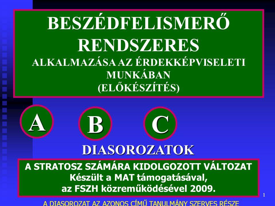 1 BESZÉDFELISMERŐ RENDSZERES ALKALMAZÁSA AZ ÉRDEKKÉPVISELETI MUNKÁBAN (ELŐKÉSZÍTÉS) A STRATOSZ SZÁMÁRA KIDOLGOZOTT VÁLTOZAT Készült a MAT támogatásával, az FSZH közreműködésével 2009.