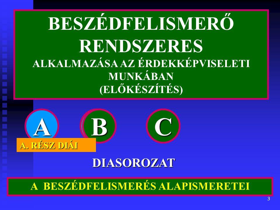 3 A BESZÉDFELISMERÉS ALAPISMERETEI ABC DIASOROZAT BESZÉDFELISMERŐ RENDSZERES ALKALMAZÁSA AZ ÉRDEKKÉPVISELETI MUNKÁBAN (ELŐKÉSZÍTÉS) CBCBCB A.