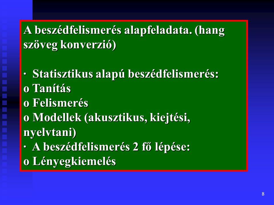 8 A beszédfelismerés alapfeladata.