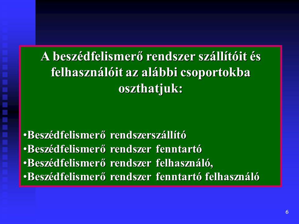 6 A beszédfelismerő rendszer szállítóit és felhasználóit az alábbi csoportokba oszthatjuk: Beszédfelismerő rendszerszállítóBeszédfelismerő rendszerszállító Beszédfelismerő rendszer fenntartóBeszédfelismerő rendszer fenntartó Beszédfelismerő rendszer felhasználó,Beszédfelismerő rendszer felhasználó, Beszédfelismerő rendszer fenntartó felhasználóBeszédfelismerő rendszer fenntartó felhasználó