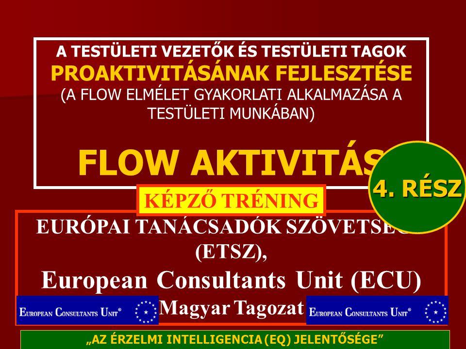 A TESTÜLETI VEZETŐK ÉS TESTÜLETI TAGOK PROAKTIVITÁSÁNAK FEJLESZTÉSE (A FLOW ELMÉLET GYAKORLATI ALKALMAZÁSA A TESTÜLETI MUNKÁBAN) FLOW AKTIVITÁS EURÓPAI TANÁCSADÓK SZÖVETSÉGE (ETSZ), European Consultants Unit (ECU) Magyar Tagozat KÉPZŐ TRÉNING 4.