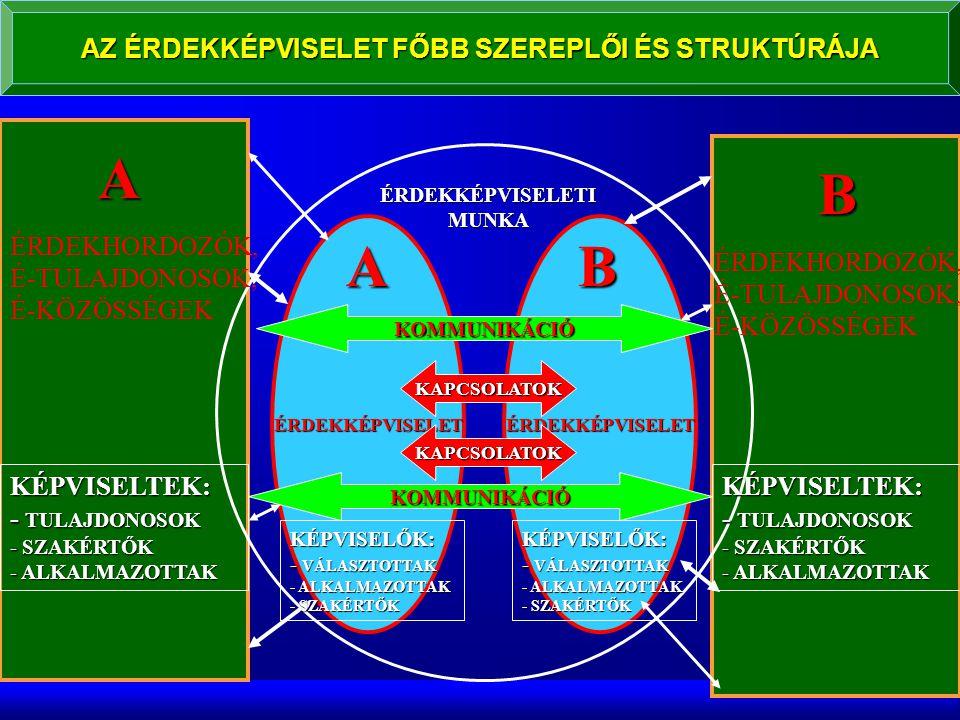 AZ ÉRDEKKÉPVISELET FŐBB SZEREPLŐI ÉS STRUKTÚRÁJA A B ÉRDEKKÉPVISELETÉRDEKKÉPVISELET KAPCSOLATOK KAPCSOLATOK ÉRDEKKÉPVISELETI MUNKA AB KÉPVISELTEK: - TULAJDONOSOK - SZAKÉRTŐK - ALKALMAZOTTAK KÉPVISELŐK: - VÁLASZTOTTAK - ALKALMAZOTTAK - SZAKÉRTŐK ÉRDEKHORDOZÓK, É-TULAJDONOSOK, É-KÖZÖSSÉGEK KÉPVISELTEK: - TULAJDONOSOK - SZAKÉRTŐK - ALKALMAZOTTAK KÉPVISELŐK: - VÁLASZTOTTAK - ALKALMAZOTTAK - SZAKÉRTŐK KOMMUNIKÁCIÓ KOMMUNIKÁCIÓ