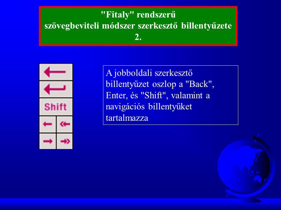 A jobboldali szerkesztő billentyűzet oszlop a Back , Enter, és Shift , valamint a navigációs billentyűket tartalmazza Fitaly rendszerű szövegbeviteli módszer szerkesztő billentyűzete 2.