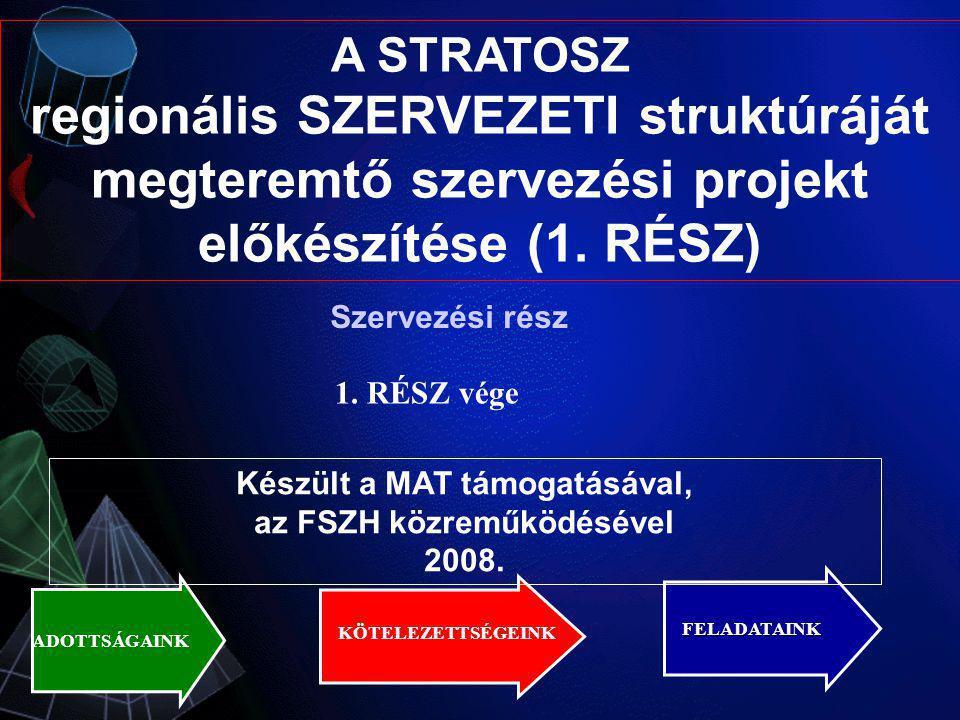 A STRATOSZ regionális SZERVEZETI struktúráját megteremtő szervezési projekt előkészítése (1. RÉSZ) ADOTTSÁGAINK FELADATAINK KÖTELEZETTSÉGEINK Készült