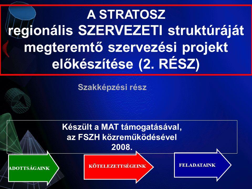A STRATOSZ regionális SZERVEZETI struktúráját megteremtő szervezési projekt előkészítése (2.
