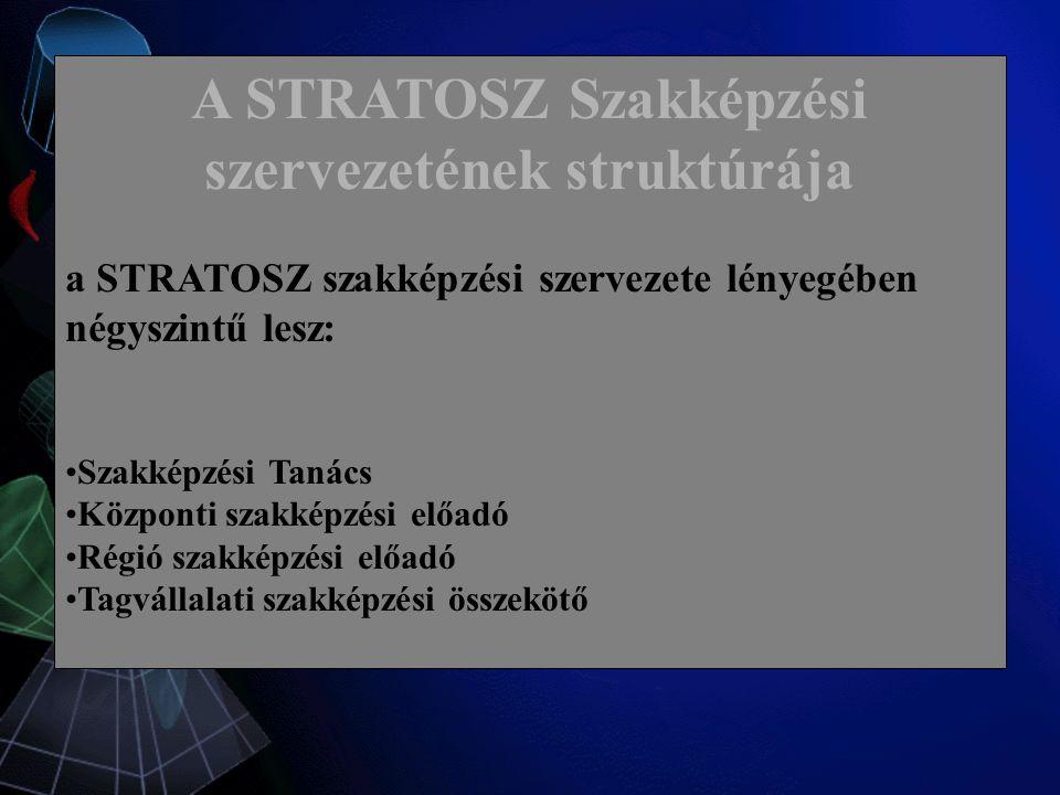 A STRATOSZ Szakképzési szervezetének struktúrája a STRATOSZ szakképzési szervezete lényegében négyszintű lesz: Szakképzési Tanács Központi szakképzési előadó Régió szakképzési előadó Tagvállalati szakképzési összekötő