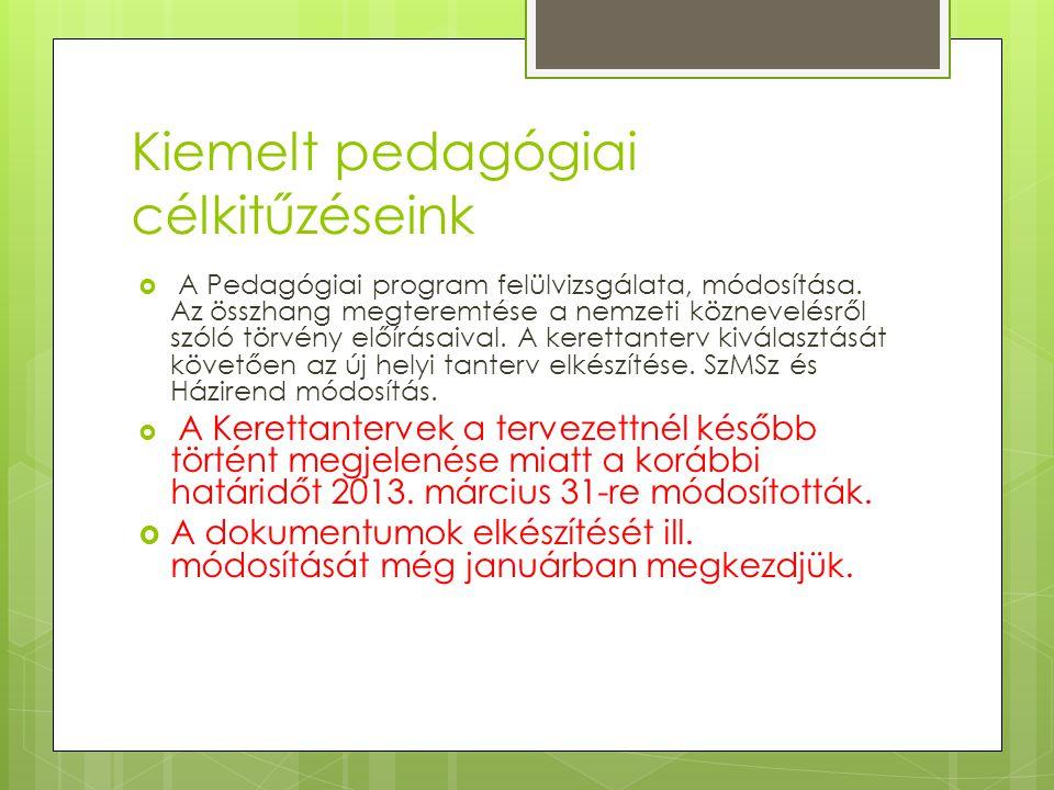 Kiemelt pedagógiai célkitűzéseink  A Pedagógiai program felülvizsgálata, módosítása. Az összhang megteremtése a nemzeti köznevelésről szóló törvény e