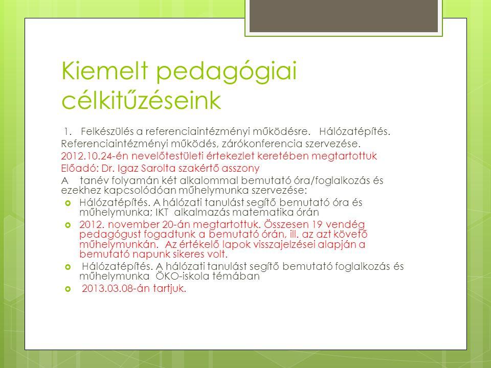 Kiemelt pedagógiai célkitűzéseink 1. Felkészülés a referenciaintézményi működésre. Hálózatépítés. Referenciaintézményi működés, zárókonferencia szerve