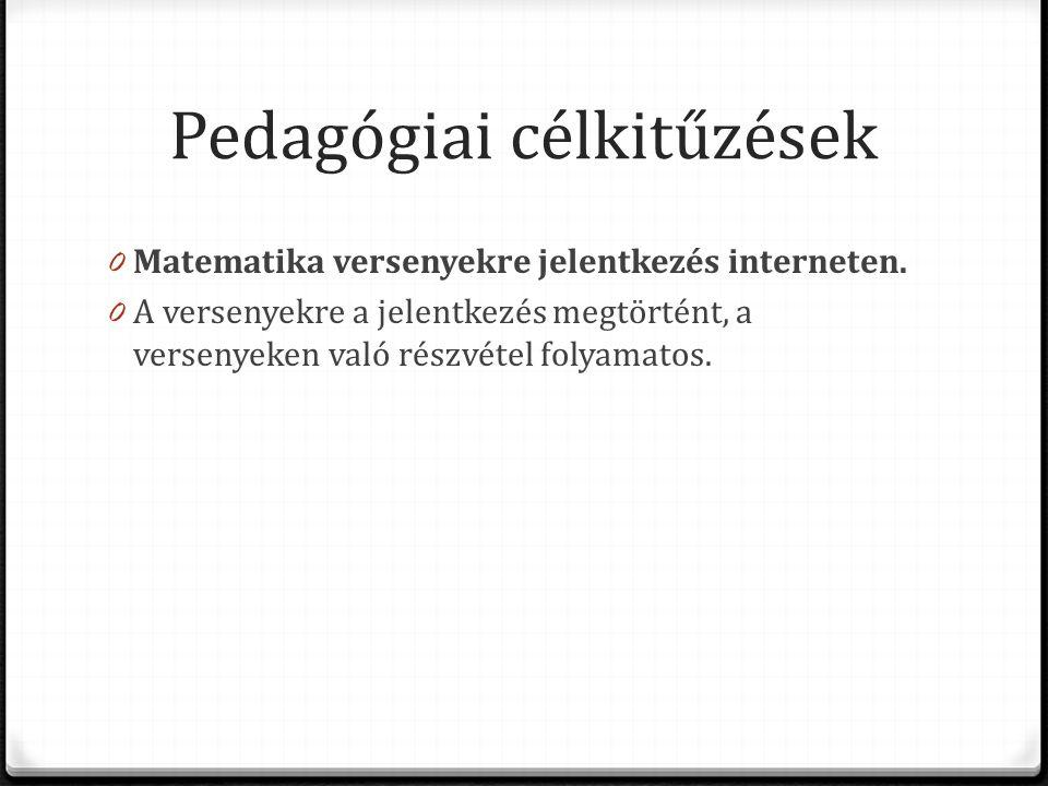 Pedagógiai célkitűzések 0 Matematika versenyekre jelentkezés interneten.