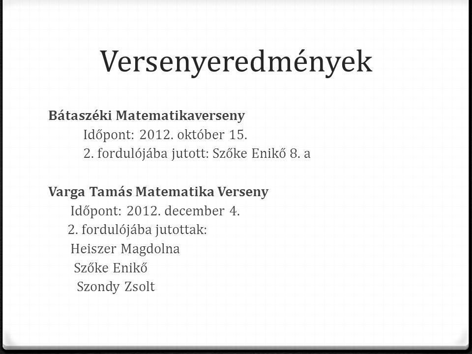 Versenyeredmények Bátaszéki Matematikaverseny Időpont: 2012. október 15. 2. fordulójába jutott: Szőke Enikő 8. a Varga Tamás Matematika Verseny Időpon
