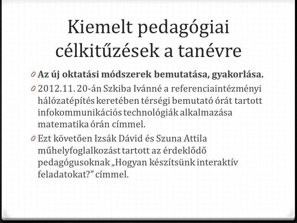 Kiemelt pedagógiai célkitűzések a tanévre 0 Az új oktatási módszerek bemutatása, gyakorlása. 0 2012.11. 20-án Szkiba Ivánné a referenciaintézményi hál