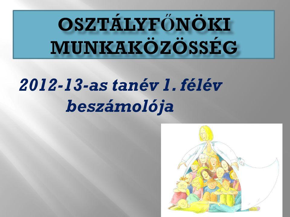 2012-13-as tanév 1. félév beszámolója