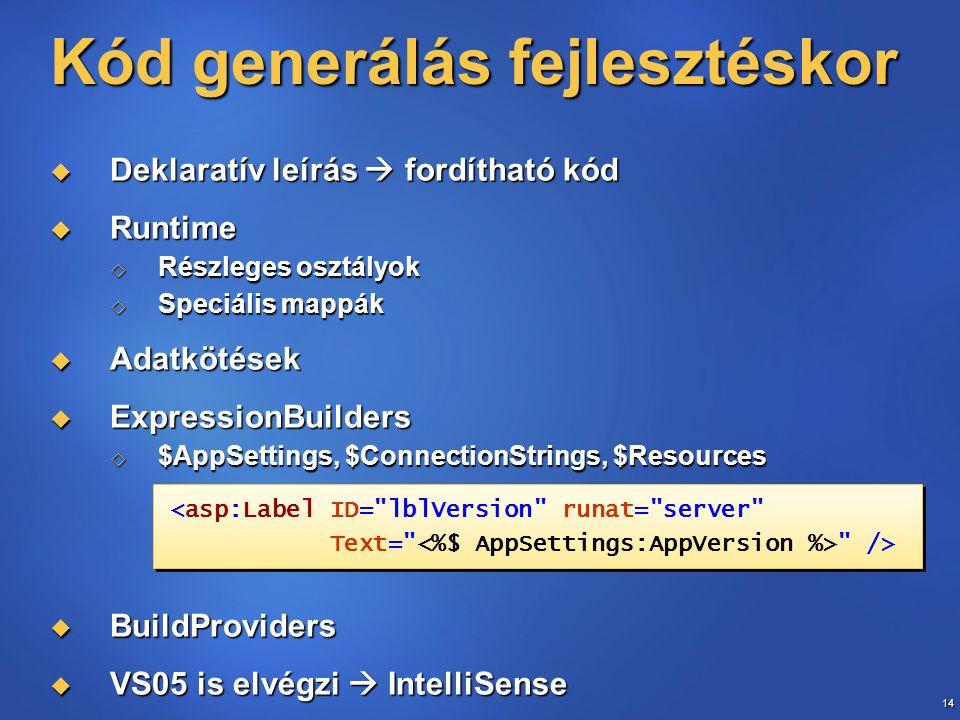 14 Kód generálás fejlesztéskor  Deklaratív leírás  fordítható kód  Runtime  Részleges osztályok  Speciális mappák  Adatkötések  ExpressionBuild