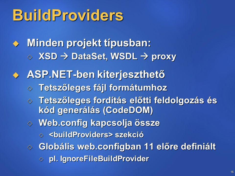 15 BuildProviders  Minden projekt típusban:  XSD  DataSet, WSDL  proxy  ASP.NET-ben kiterjeszthető  Tetszőleges fájl formátumhoz  Tetszőleges f