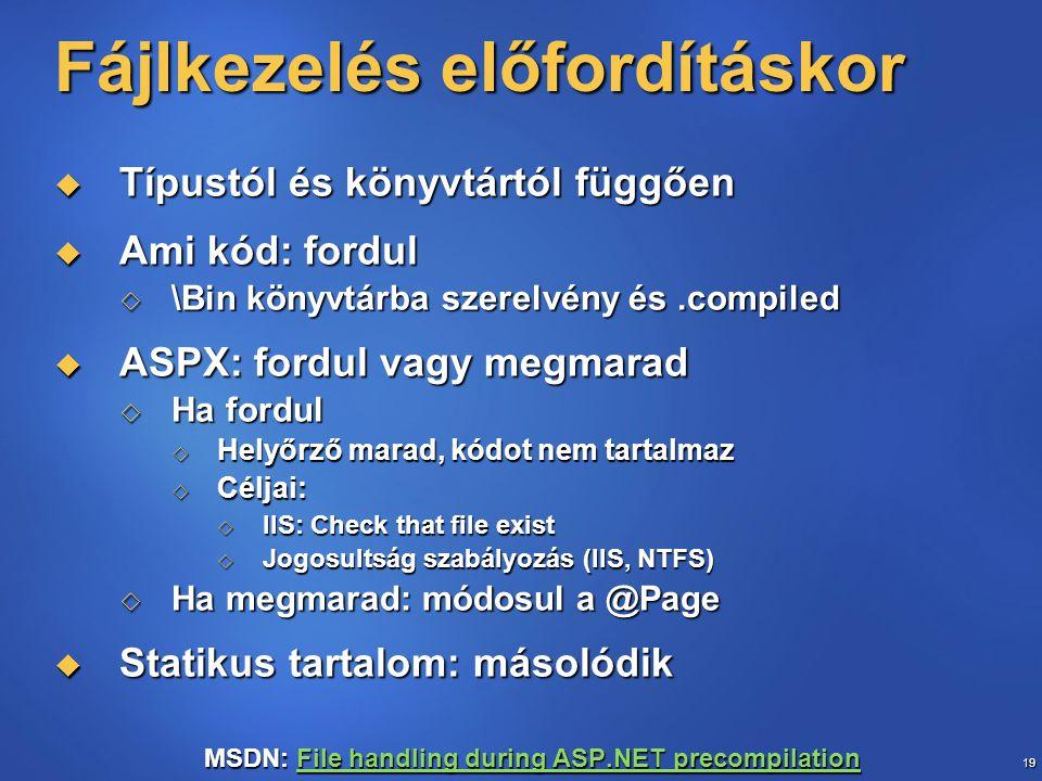 19 Fájlkezelés előfordításkor  Típustól és könyvtártól függően  Ami kód: fordul  \Bin könyvtárba szerelvény és.compiled  ASPX: fordul vagy megmara