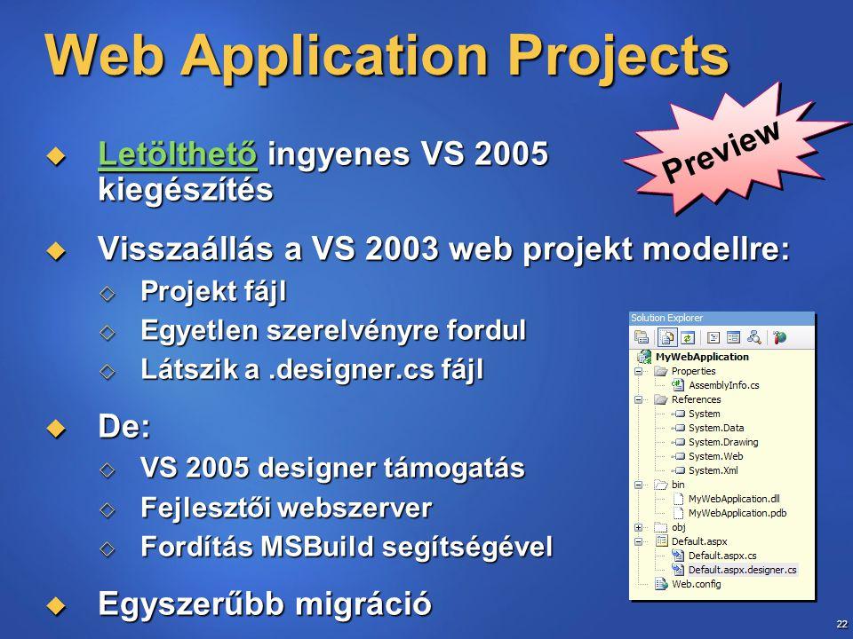 22 Web Application Projects  Letölthető ingyenes VS 2005 kiegészítés Letölthető  Visszaállás a VS 2003 web projekt modellre:  Projekt fájl  Egyetl