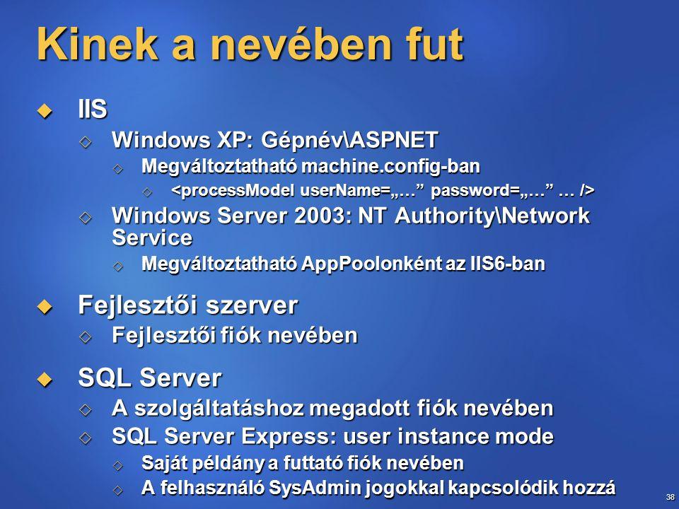 38 Kinek a nevében fut  IIS  Windows XP: Gépnév\ASPNET  Megváltoztatható machine.config-ban    Windows Server 2003: NT Authority\Network Service