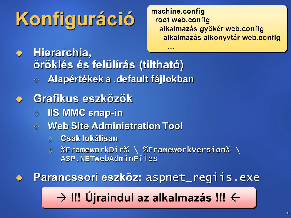 39 Konfiguráció  Hierarchia, öröklés és felülírás (tiltható)  Alapértékek a.default fájlokban  Grafikus eszközök  IIS MMC snap-in  Web Site Admin