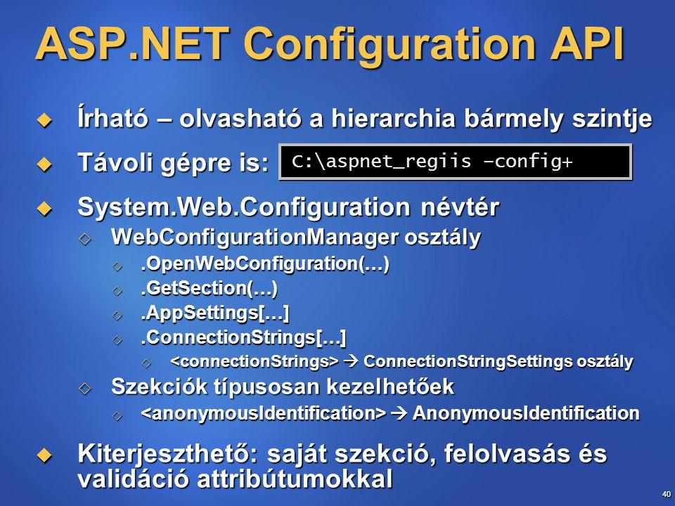 40 ASP.NET Configuration API  Írható – olvasható a hierarchia bármely szintje  Távoli gépre is: aspnet_regiis -config+  System.Web.Configuration né